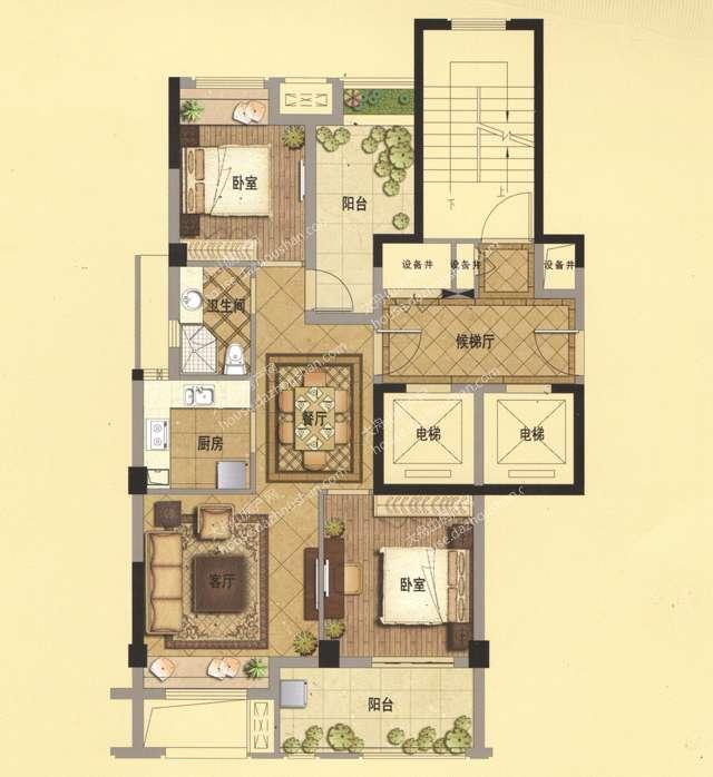 A4 89平米 两房两厅一卫