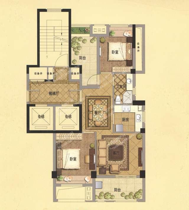 A1 89平米 两房两厅一卫