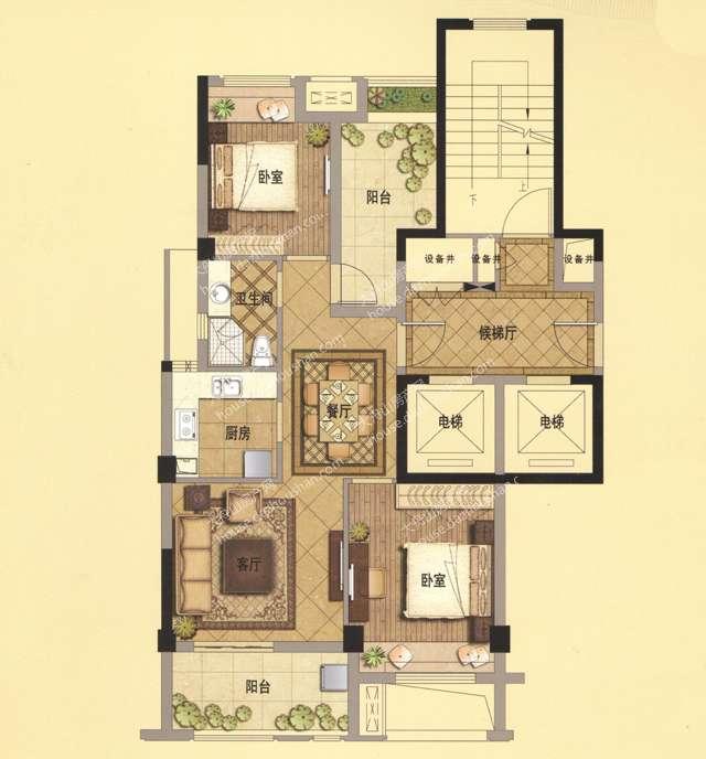 A2 89平米 两房两厅一卫