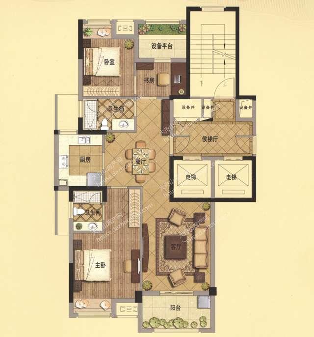 B2 115平米 两房两厅两卫