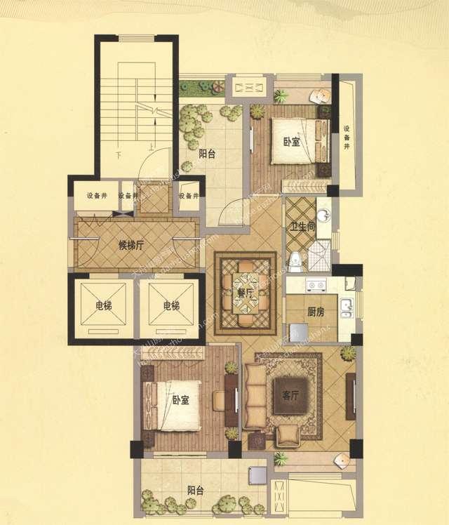 A3 89平米 两室两厅一卫
