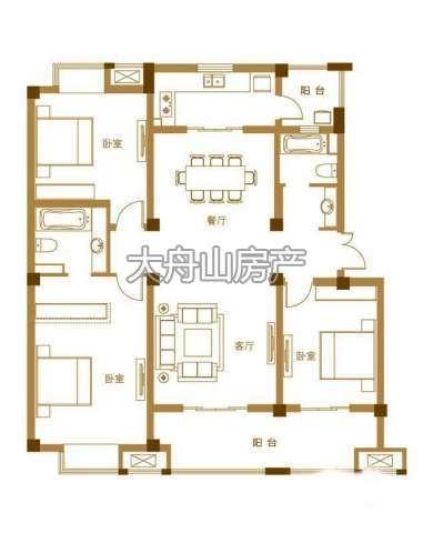 D户型3室2厅2卫1厨 140.00㎡