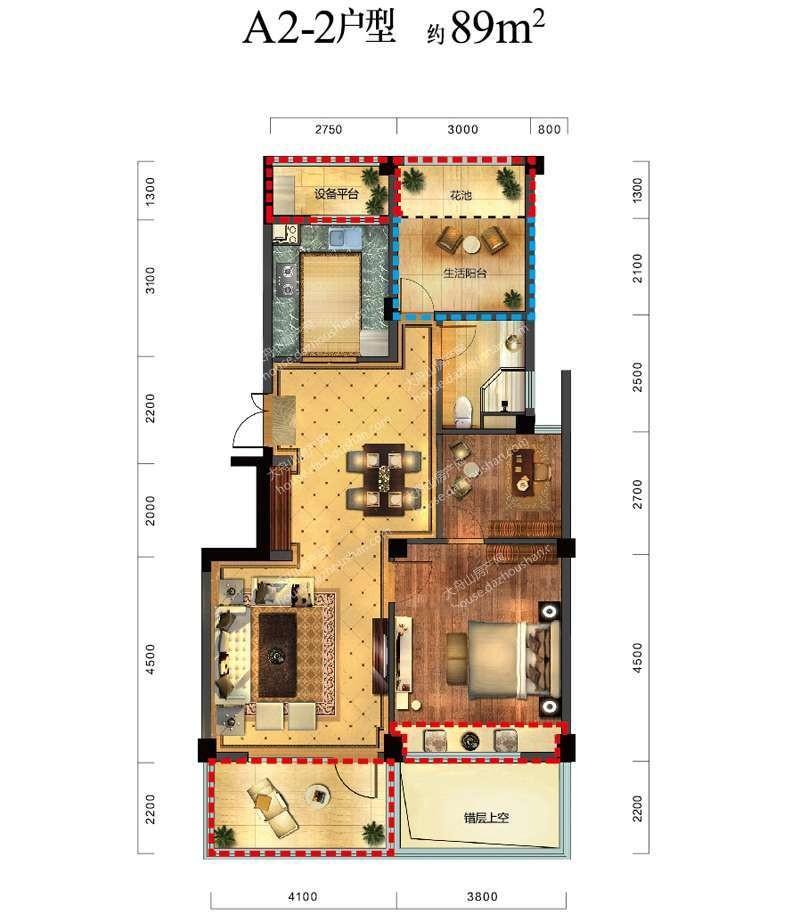 A2-2 三室两厅一卫一厨 89平米