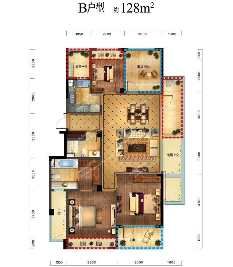 B户型 四室两厅两卫一厨 128平米