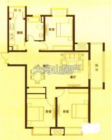 I户型3室2厅1卫1厨 116.00㎡