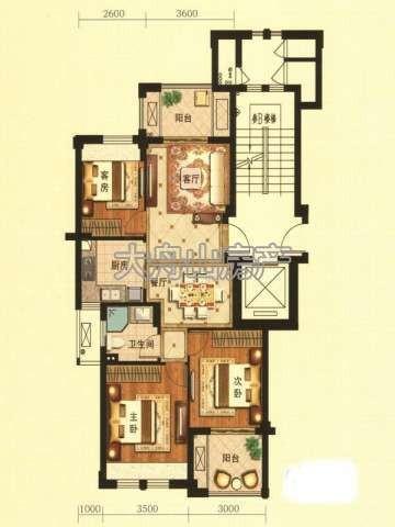 F1户型图2室2厅1卫1厨 88.00㎡