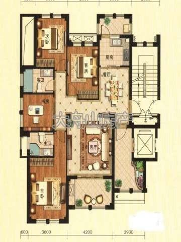 A1户型图4室2厅2卫1厨 136.00㎡