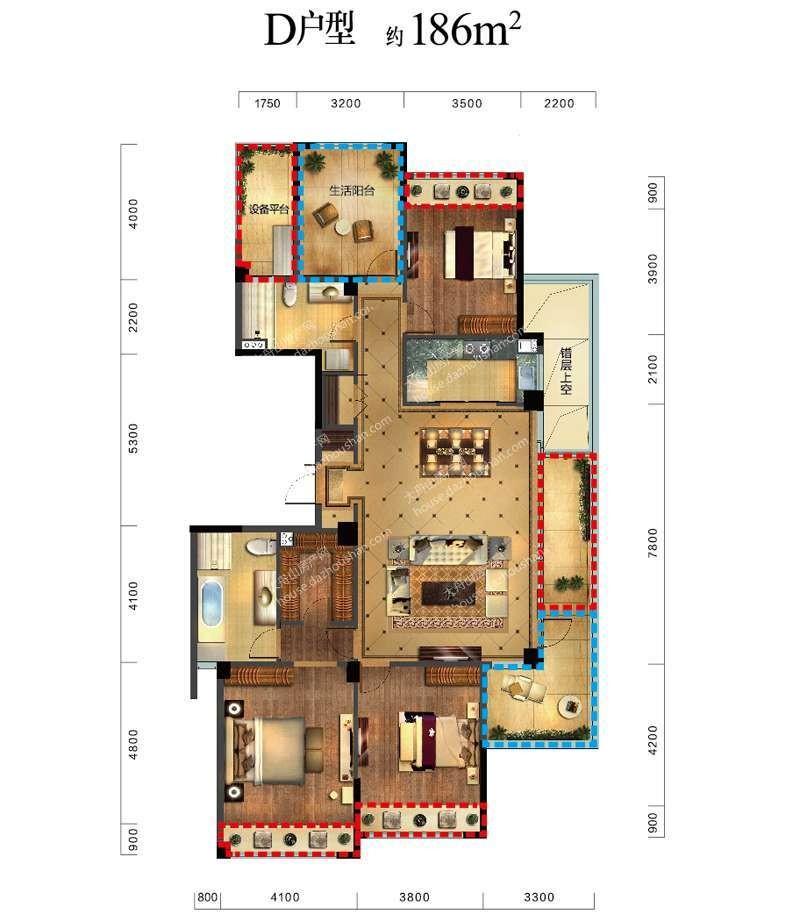 D户型 四室两厅两卫一厨 186平米