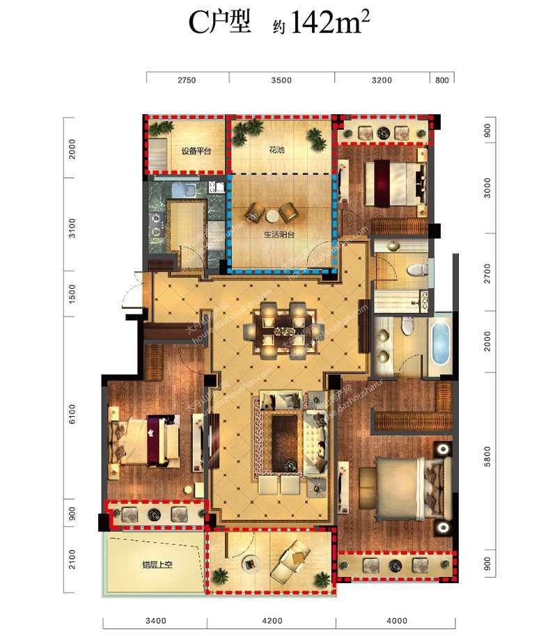 C户型 四室两厅两卫一厨 142平米