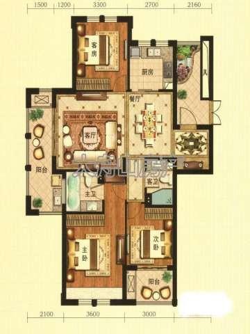 E1户型图3室2厅2卫1厨 119.00㎡