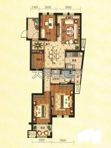 C2户型图3室2厅1卫1厨 110.00㎡