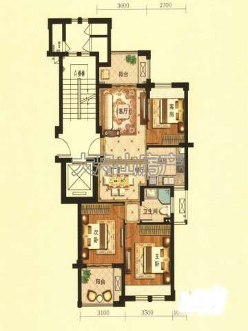 G1户型图3室2厅1卫1厨 89.00㎡