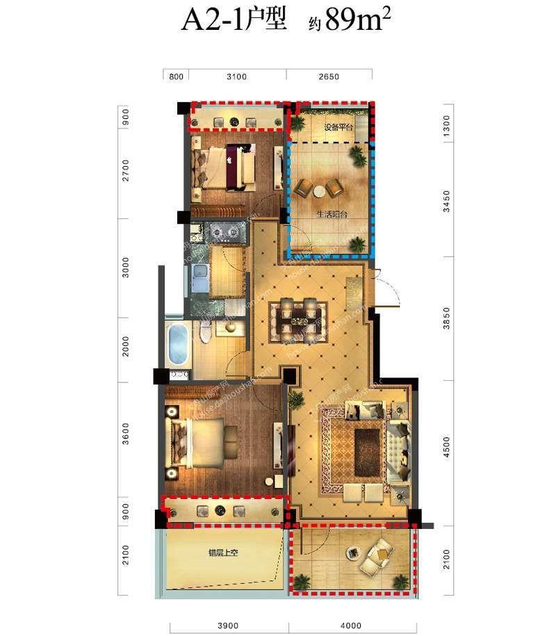 A2-1户型 三室两厅一卫一厨 89平米