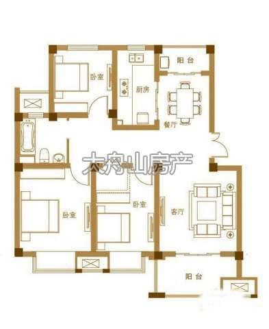 B户型3室2厅1卫1厨 105.00㎡