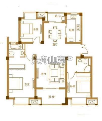 C户型3室2厅2卫1厨 116.00㎡